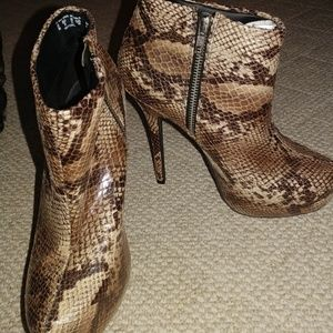 Brown snake skin patterned ankle boots